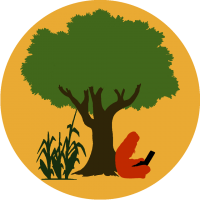 Logo of Eco Hack Farm, a person sitting under a tree with a laptop, on the other side of the tree corn grows